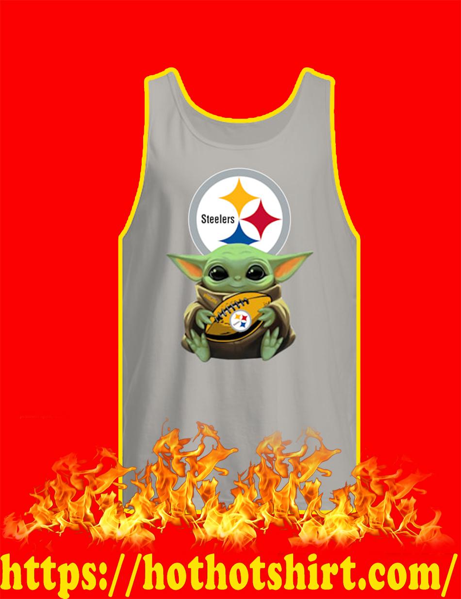 Baby Yoda Hug Pittsburgh Steelers tank top
