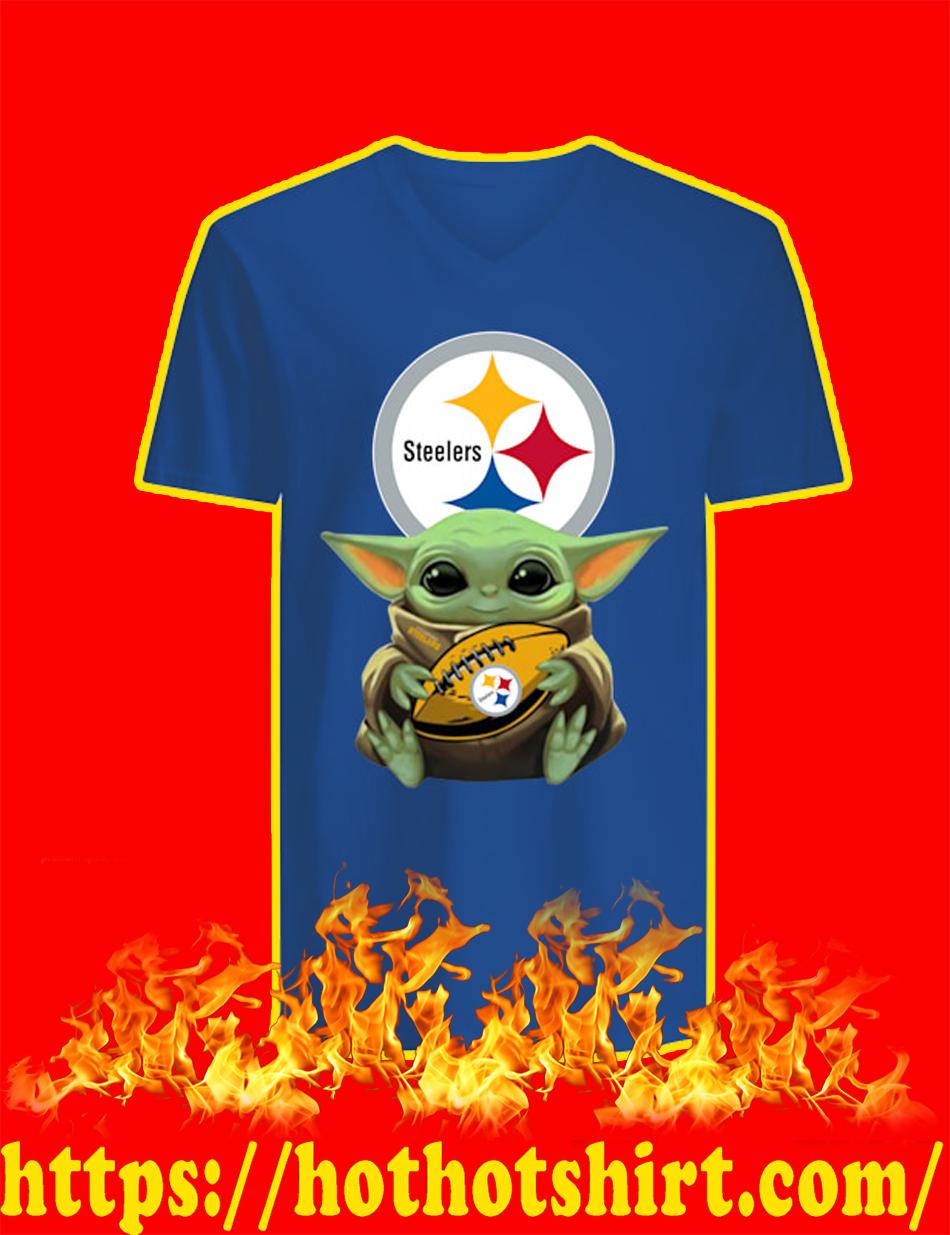 Baby Yoda Hug Pittsburgh Steelers v-neck