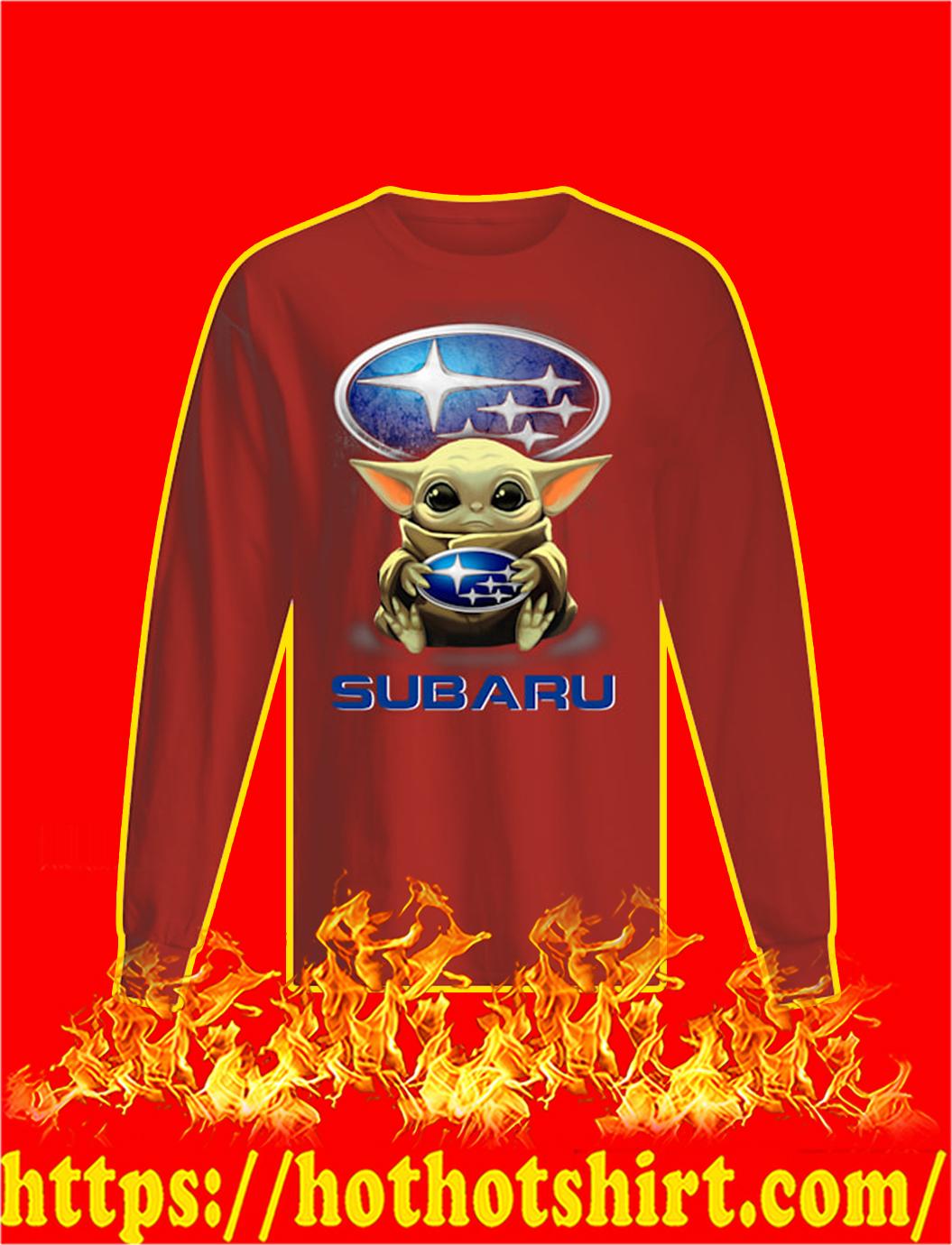 Baby Yoda Hug Subaru longsleeve tee