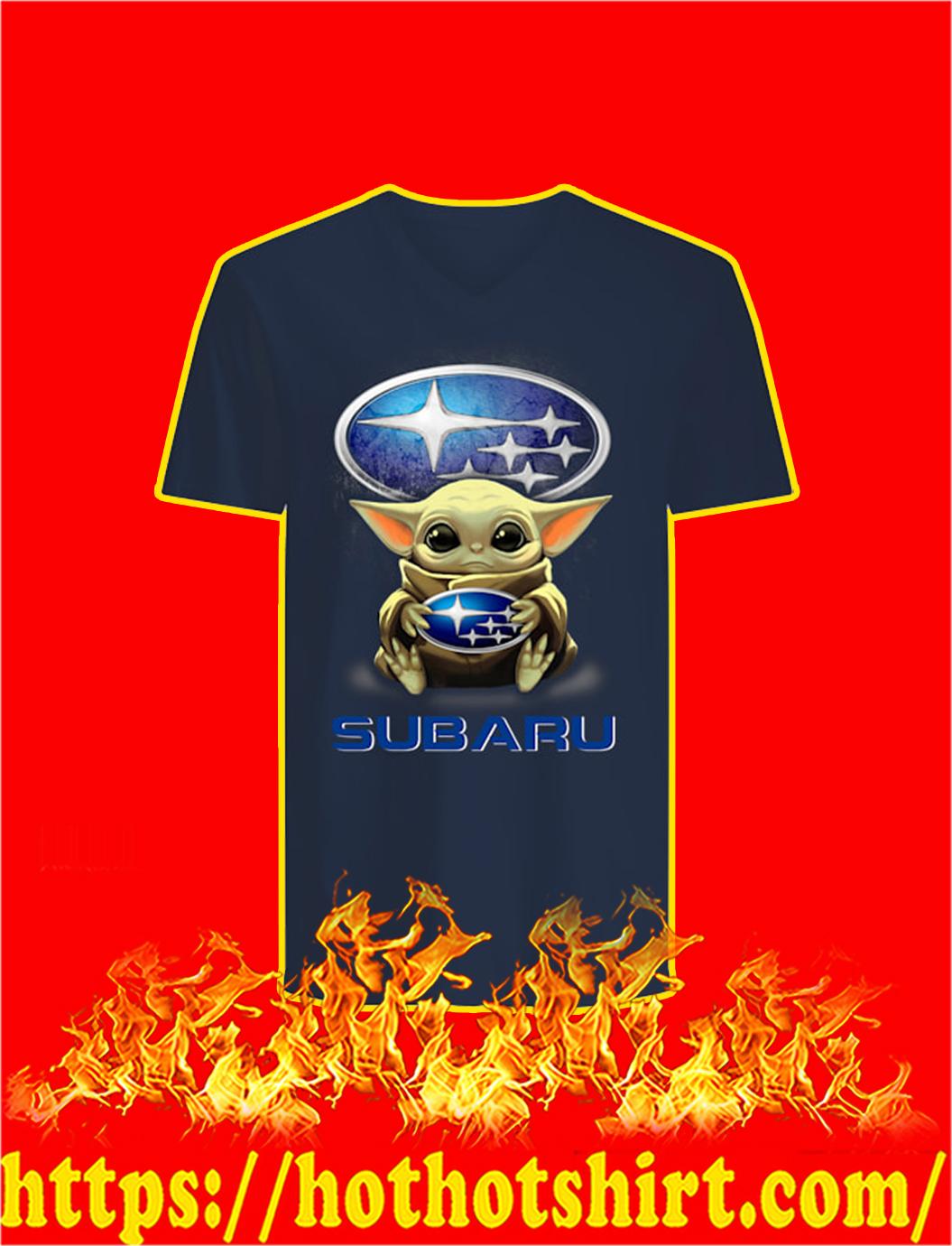 Baby Yoda Hug Subaru v-neck