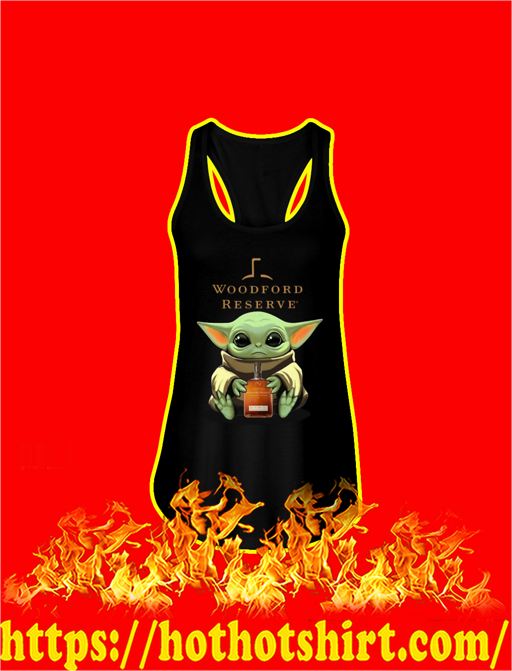 Baby Yoda Hug Woodford Reserve tank top
