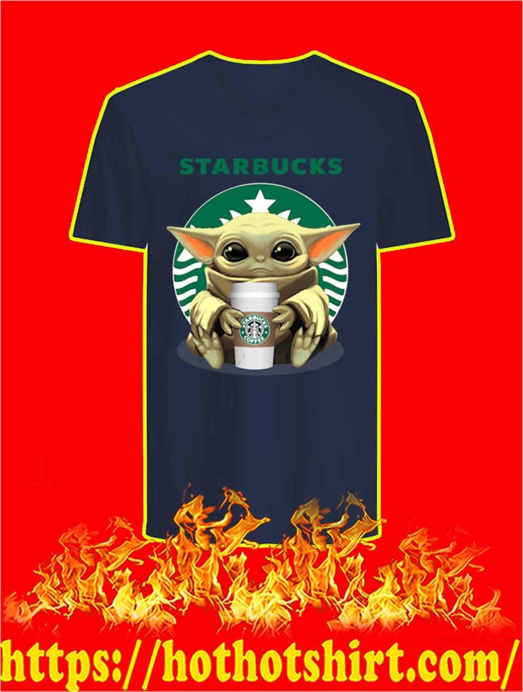 Baby Yoda Starbucks v-neck