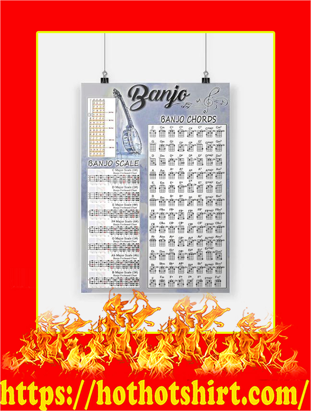 Banjo Chords Scale Poster - A3