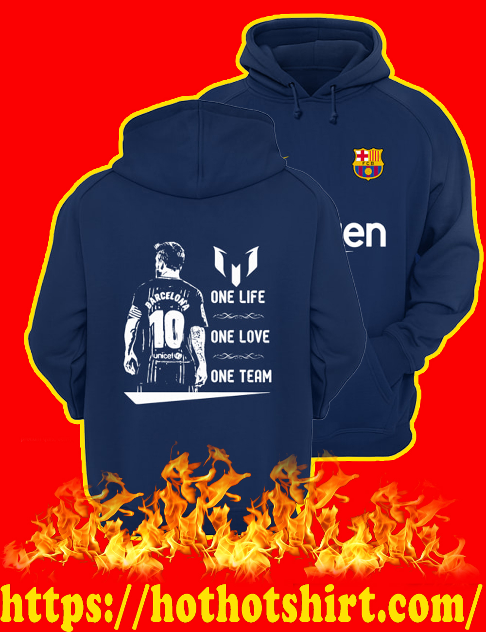 Barcelona Messi One Life One Love One Team Hoodie-Navy