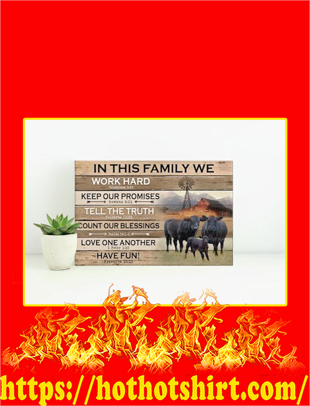 Black Angus In This Family We Work Hard Canvas Prints - Large