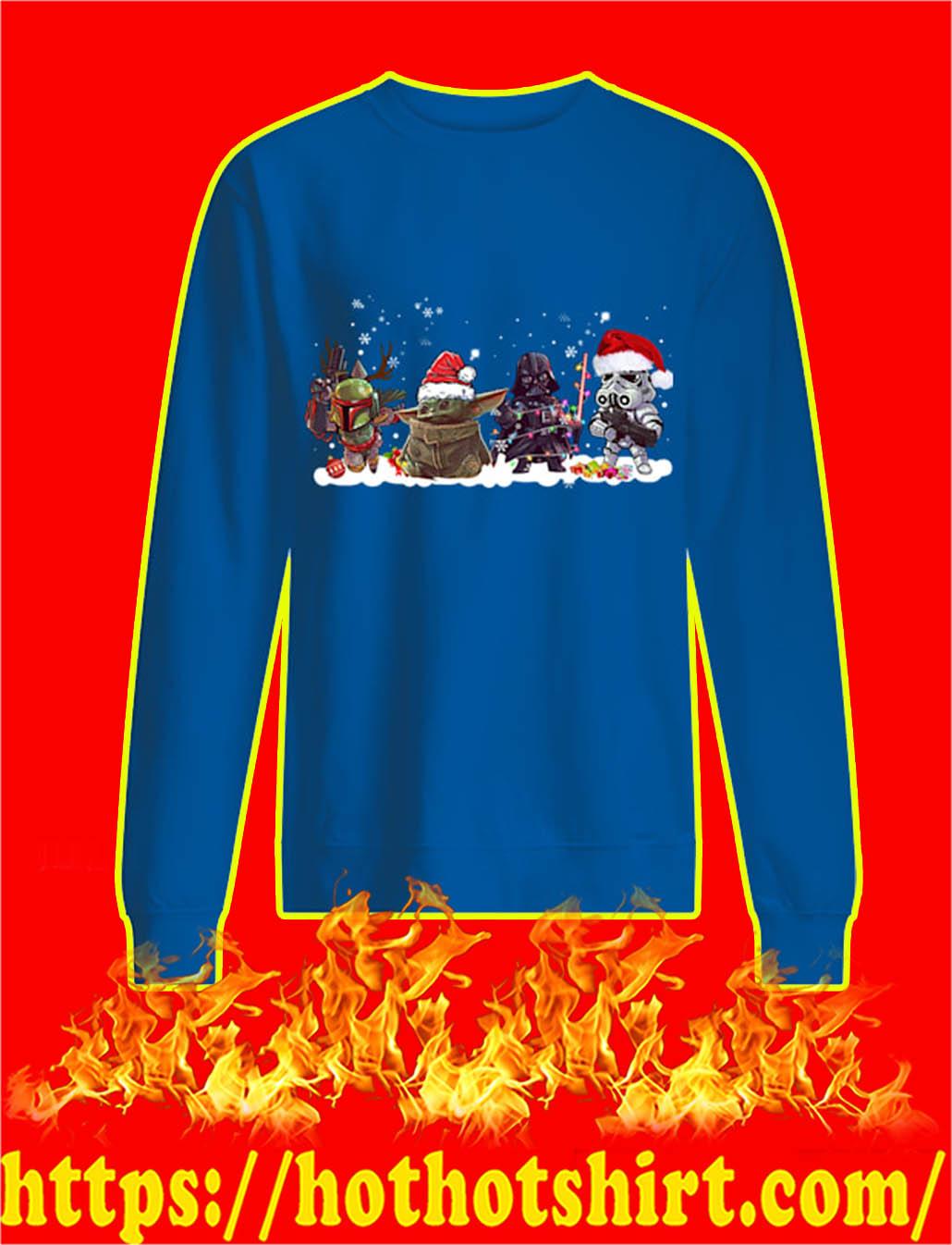 Boba Fett Baby Yoda Darth Vader and Stormtrooper Christmas sweatshirt