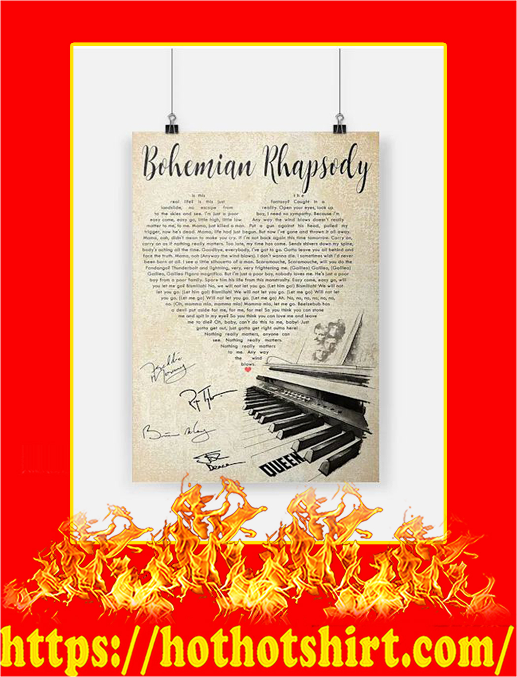Bohemian Rhapsody Queen Heart Poster - A2