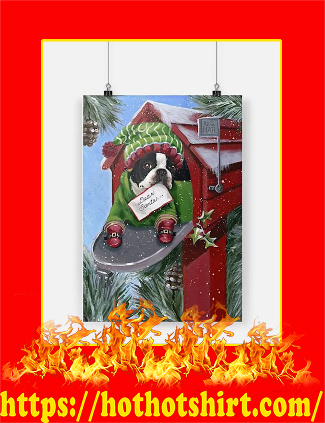 Boston Terrier Dear Santa Poster - A2