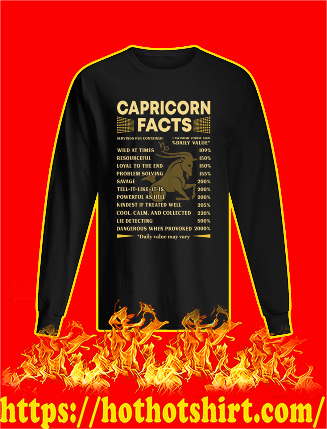 Capricorn Facts Servings Per Container longsleeve tee