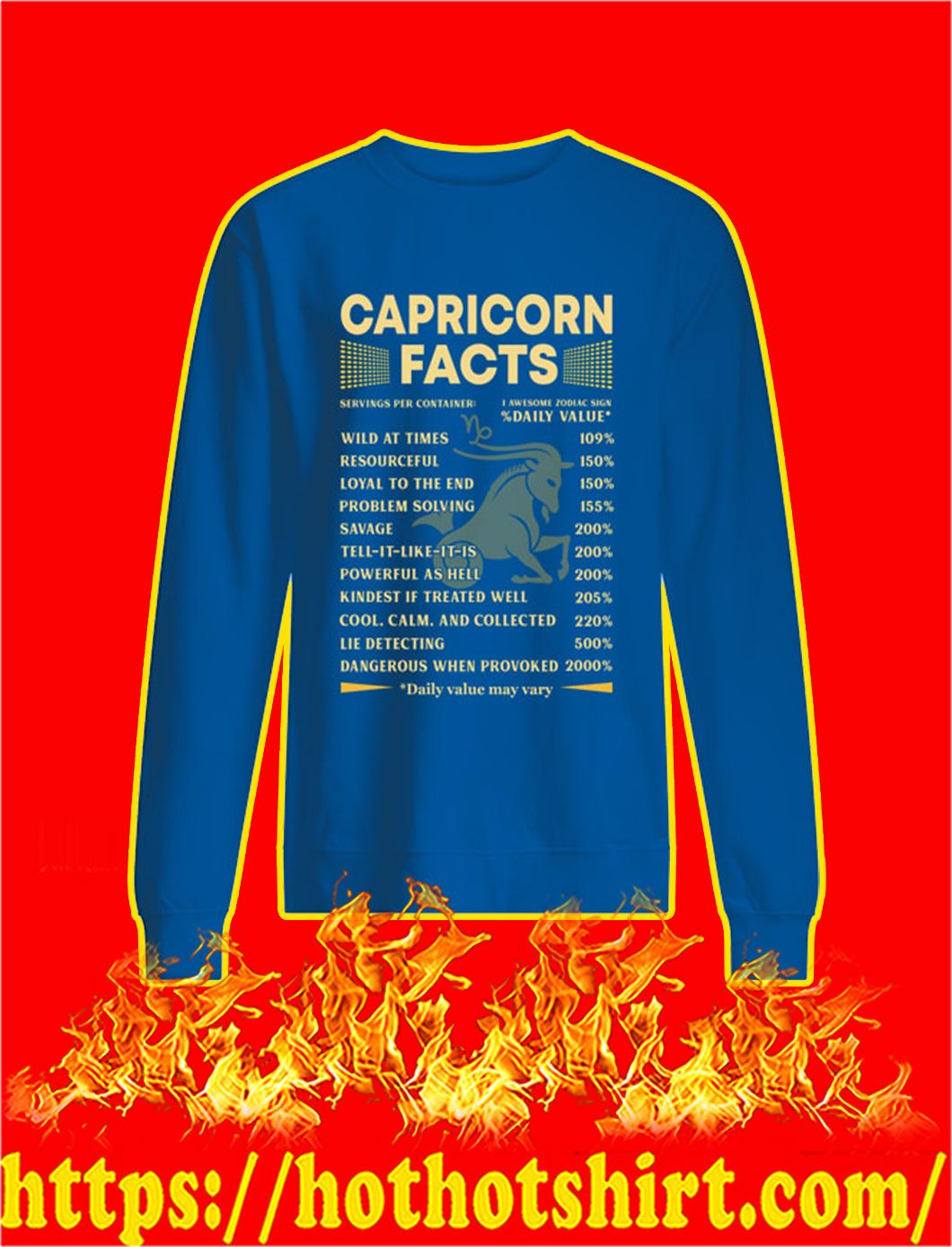 Capricorn Facts Servings Per Container sweatshirt