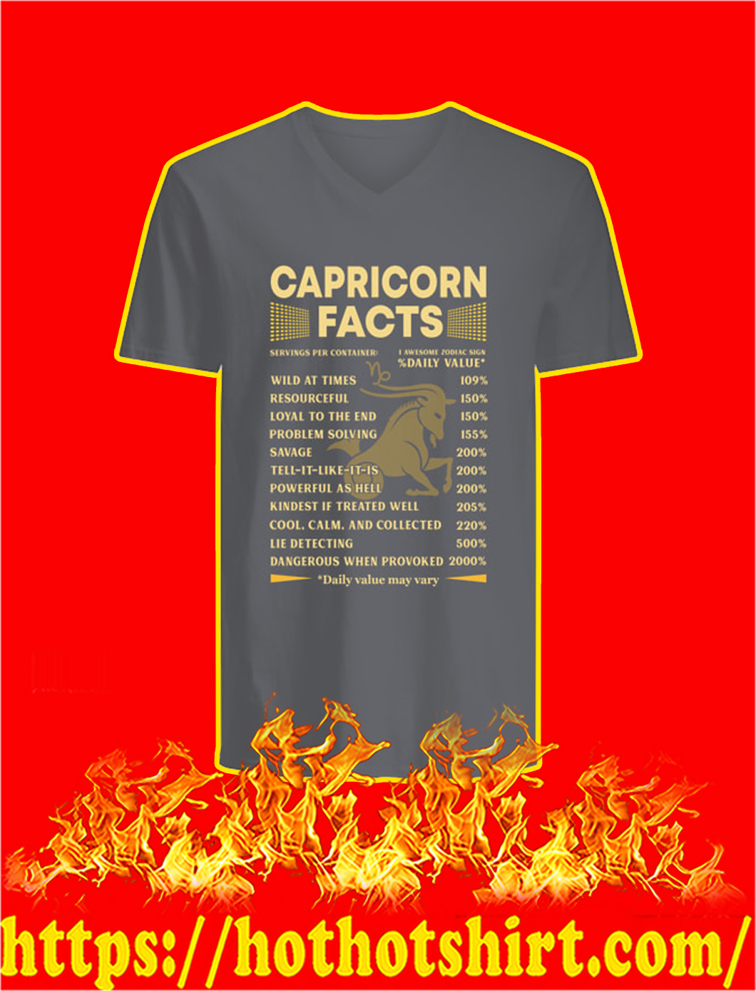 Capricorn Facts Servings Per Container v-neck