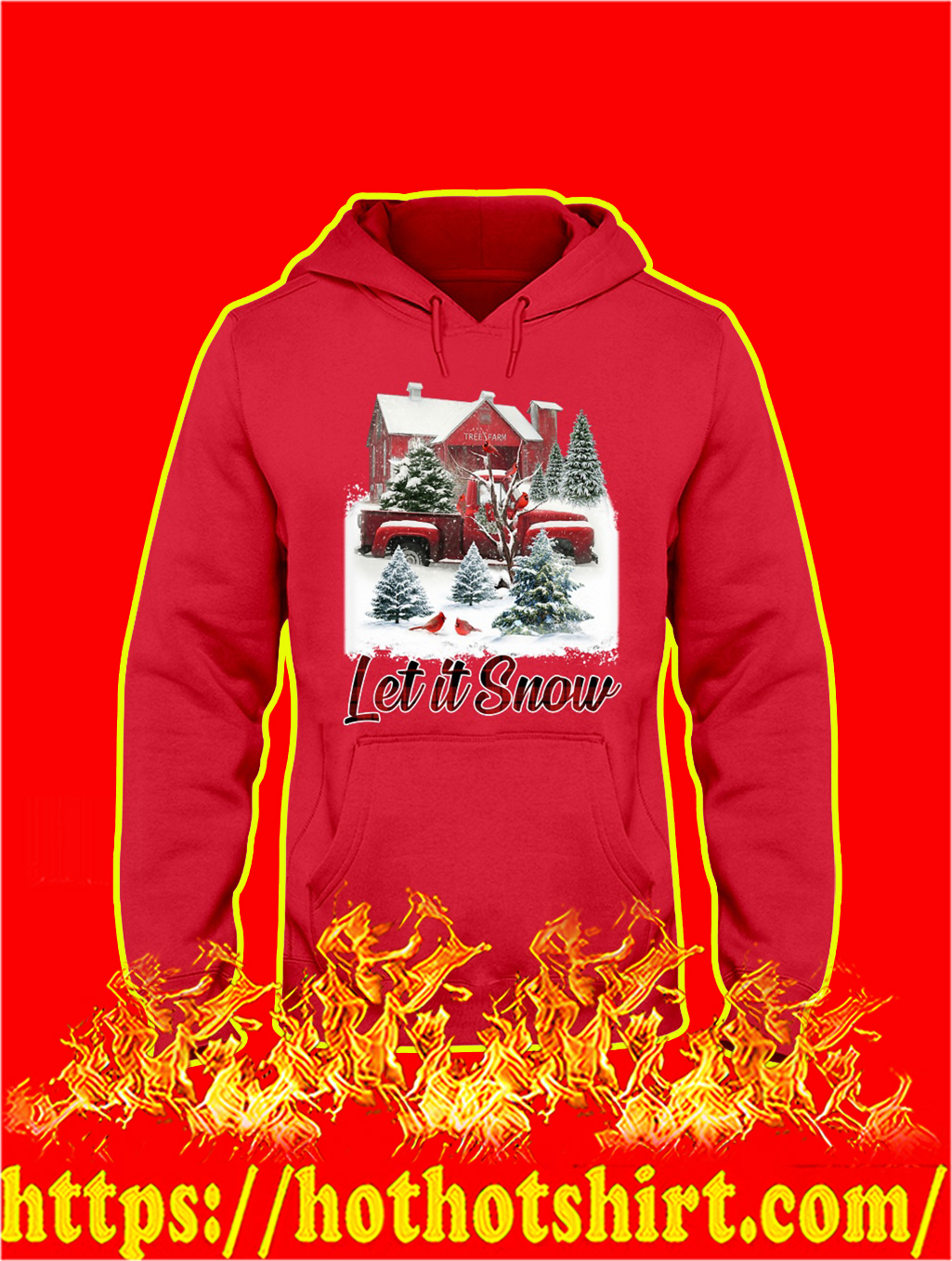 Cardinal Bird Let It Snow Christmas hoodie