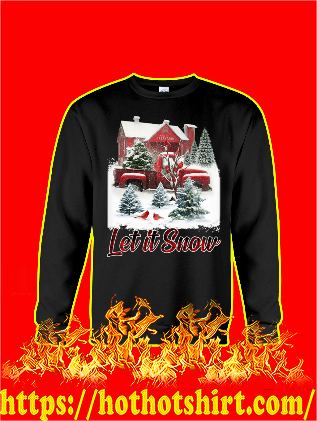 Cardinal Bird Let It Snow Christmas sweatshirt