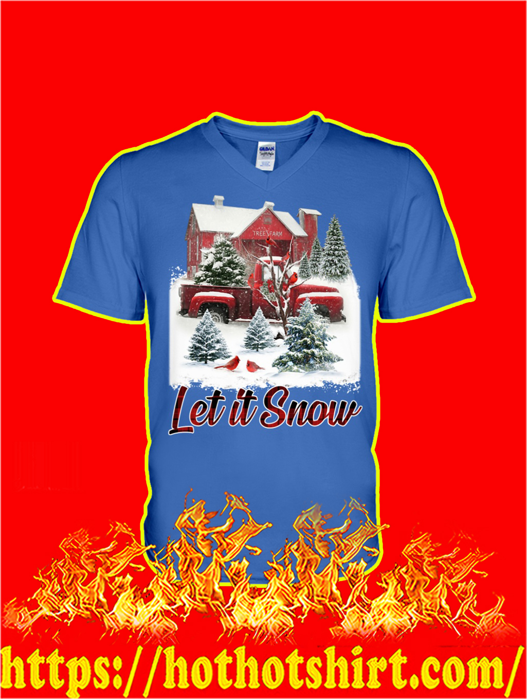 Cardinal Bird Let It Snow Christmas v-neck