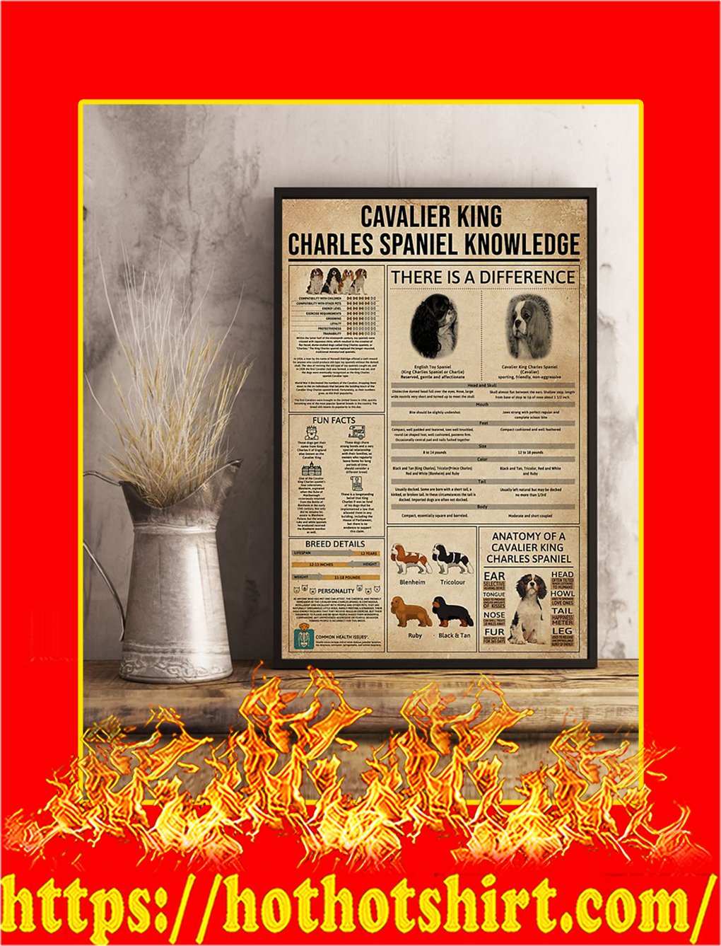Cavalier King Charles Spaniel Knowledge Poster- 11x17