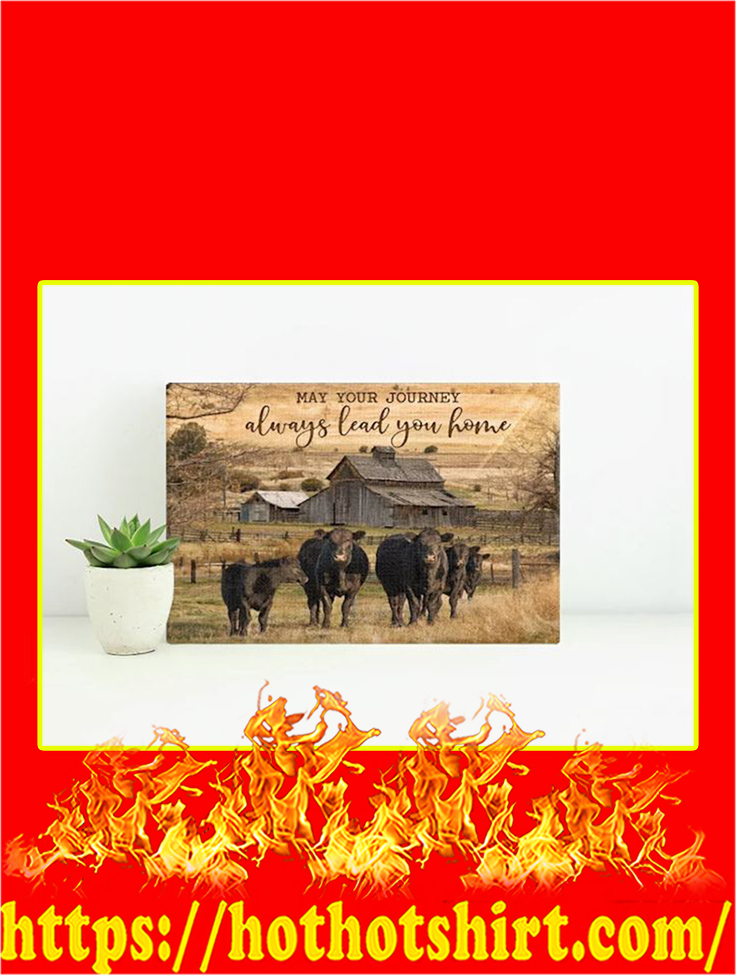 Cow May Your Journey Always Lead You Home Canvas Prints- Large
