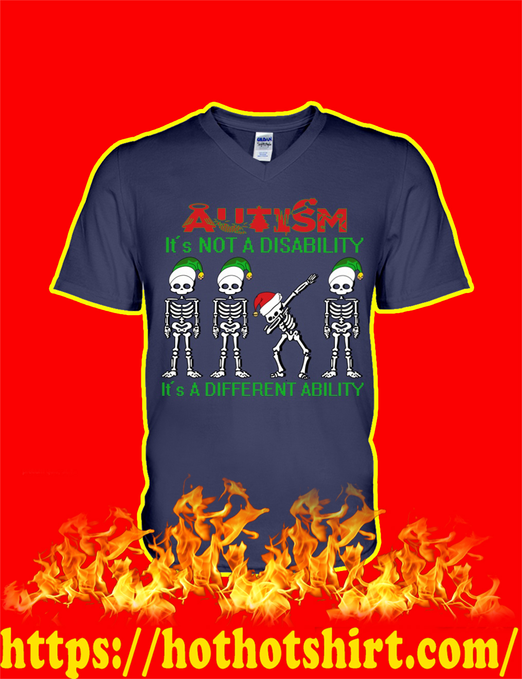 Dabbing Skeleton Christmas Autism It's Not A Disability It's A Different Ability v-neck