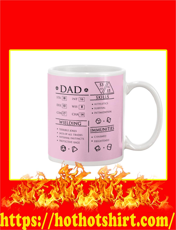 Dad Character Sheet Mug- classic pink
