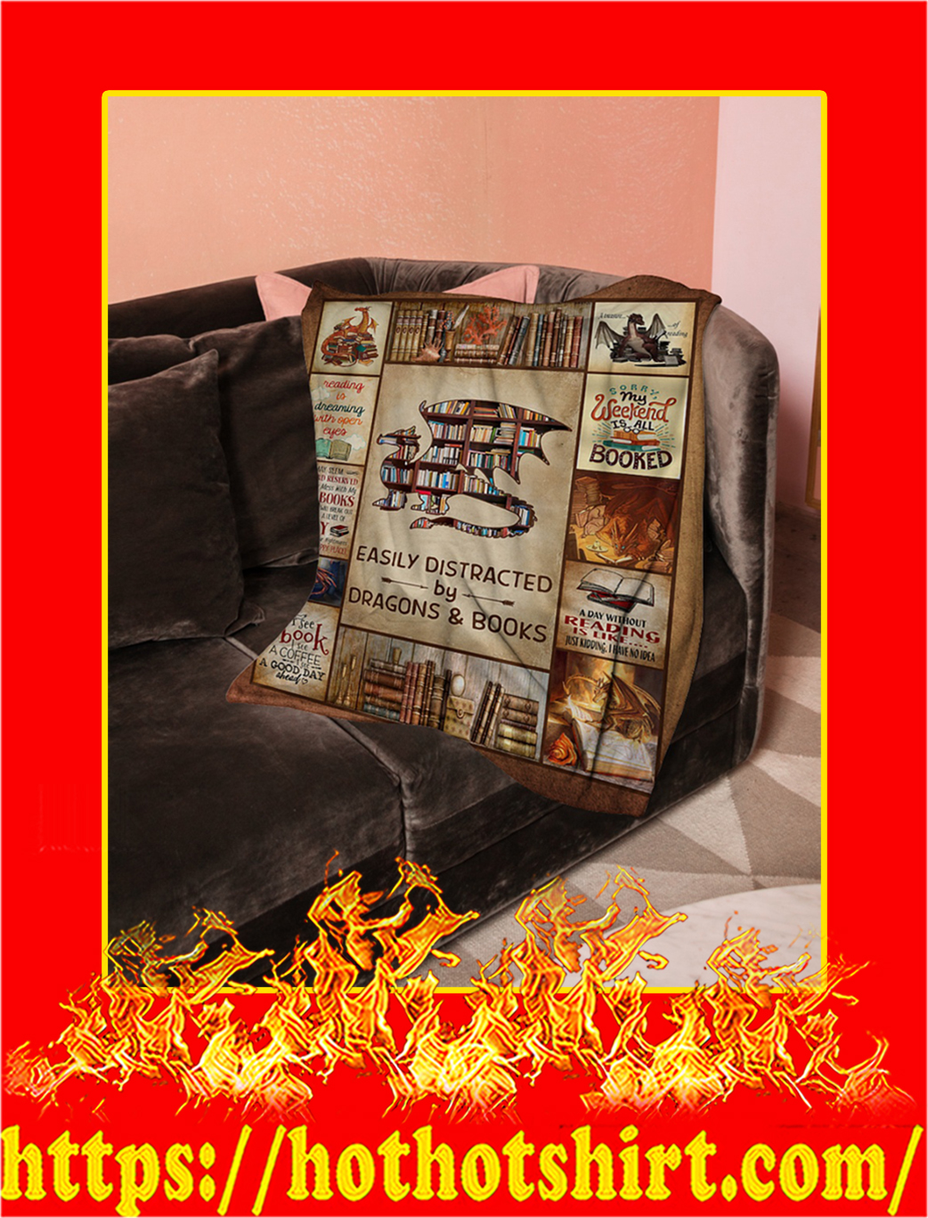 Easily Distracted By Dragons And Books Blanket- large
