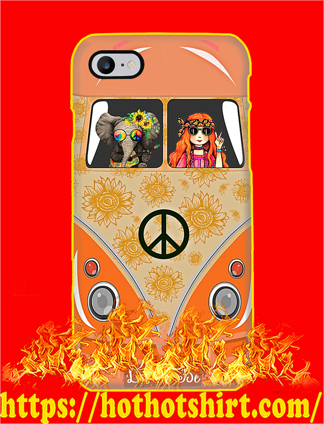 Elephant and Hippie Girl Let It Be Phone Case- iphone 8