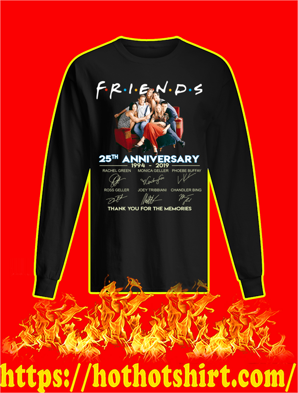 Friends 25th Anniversary 1994 2019 Thank You For The Memories longsleeve tee