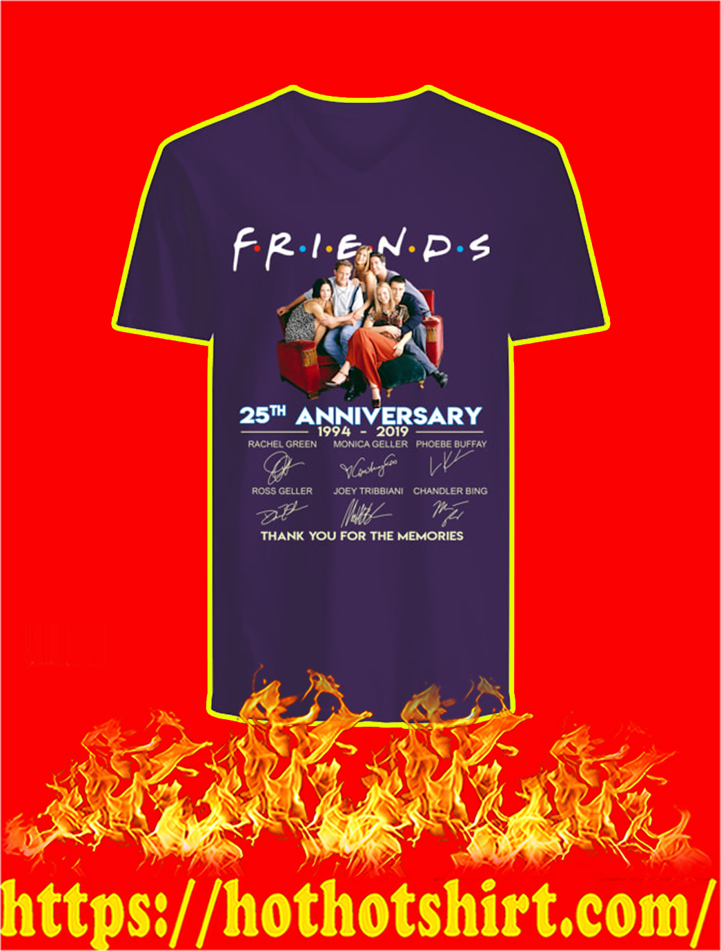 Friends 25th Anniversary 1994 2019 Thank You For The Memories v-neck