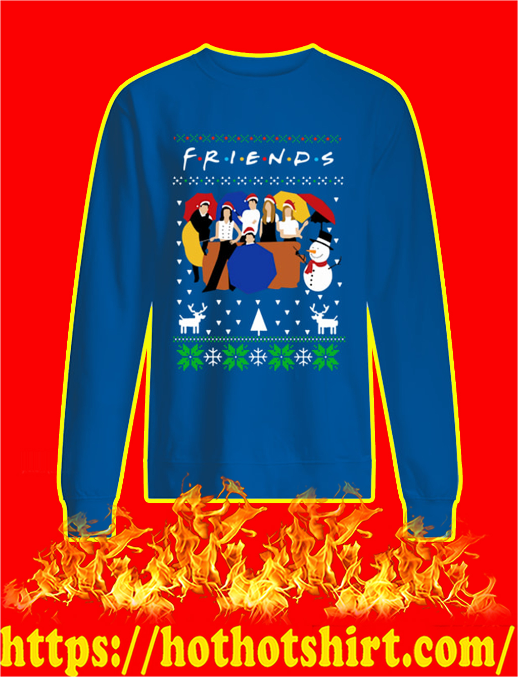 Friends TV Show Ugly Christmas Sweater- blue