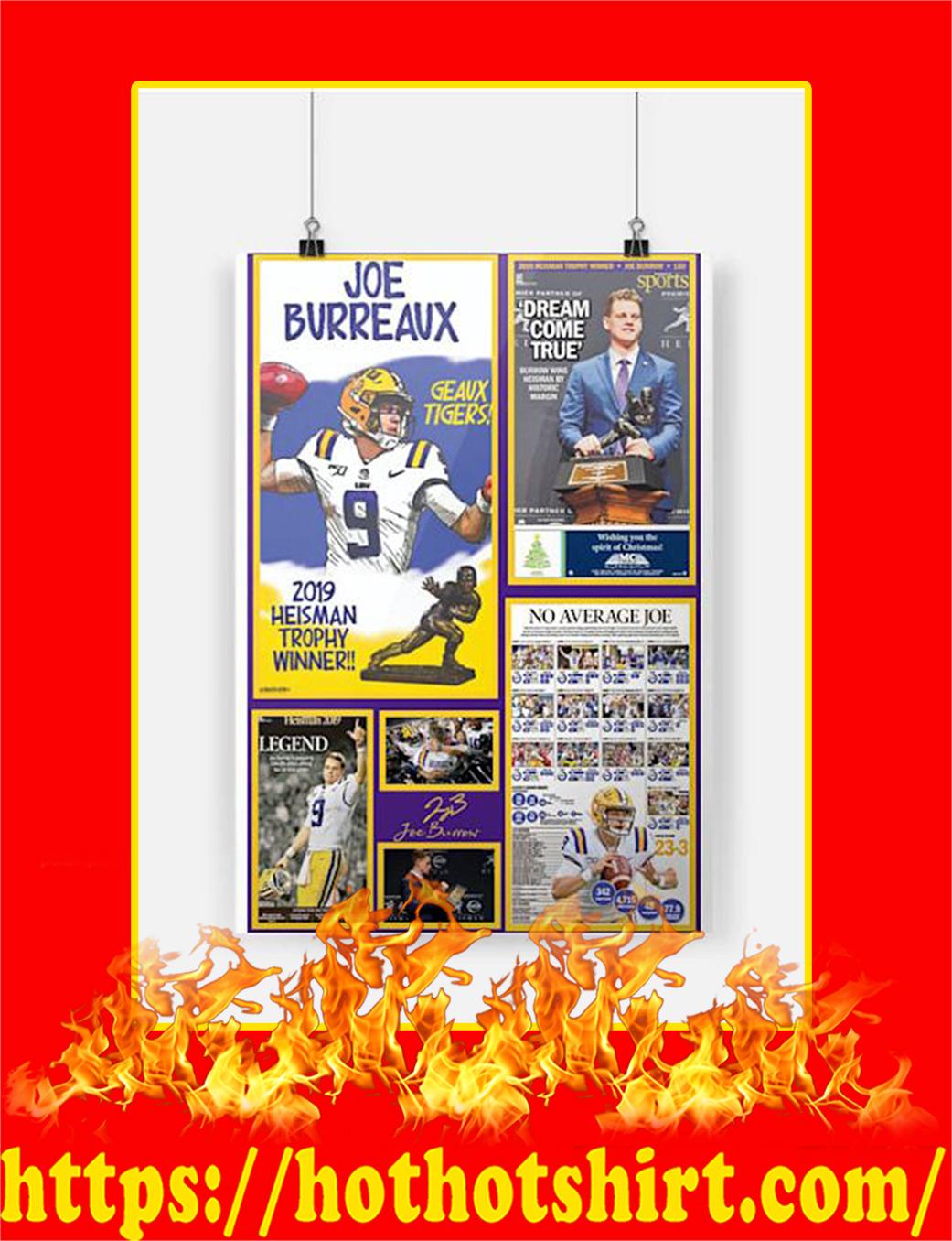 Joe Burreaux 2019 Heisman Trophy Winner Poster - A2
