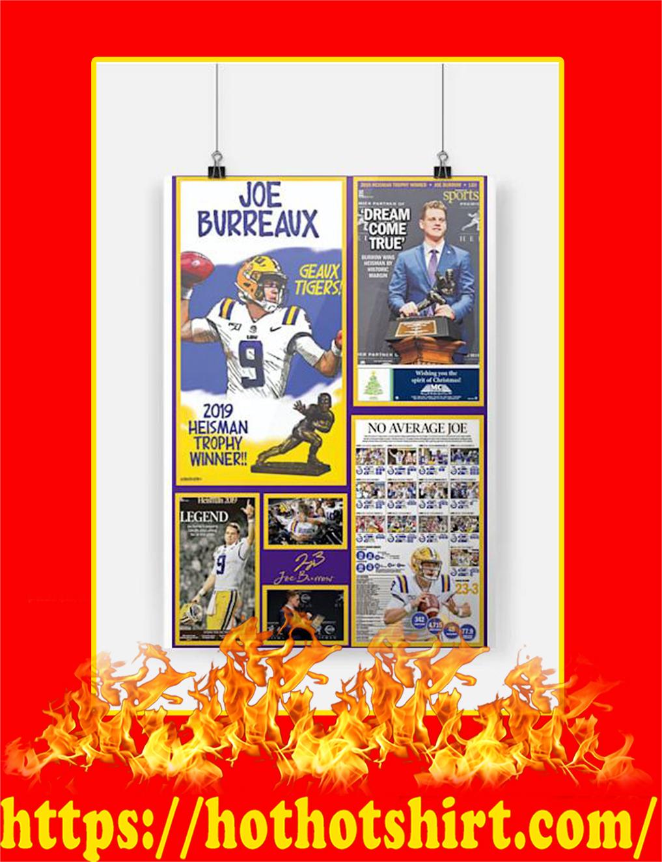 Joe Burreaux 2019 Heisman Trophy Winner Poster - A4
