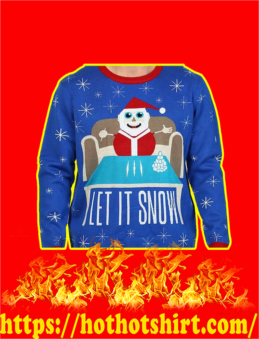 Let It Snow Santa Claus Doing Cocaine Sweater- M