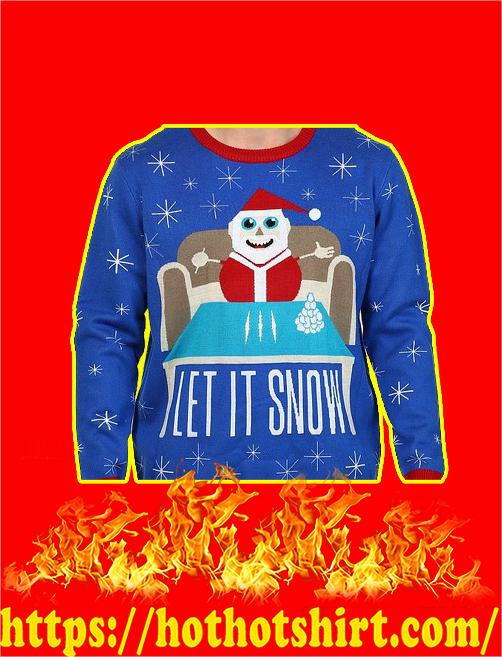 Let It Snow Santa Claus Doing Cocaine Sweater- S