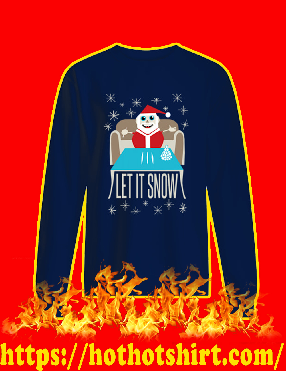 Let It Snow Santa Doing Cocaine Sweater-navy