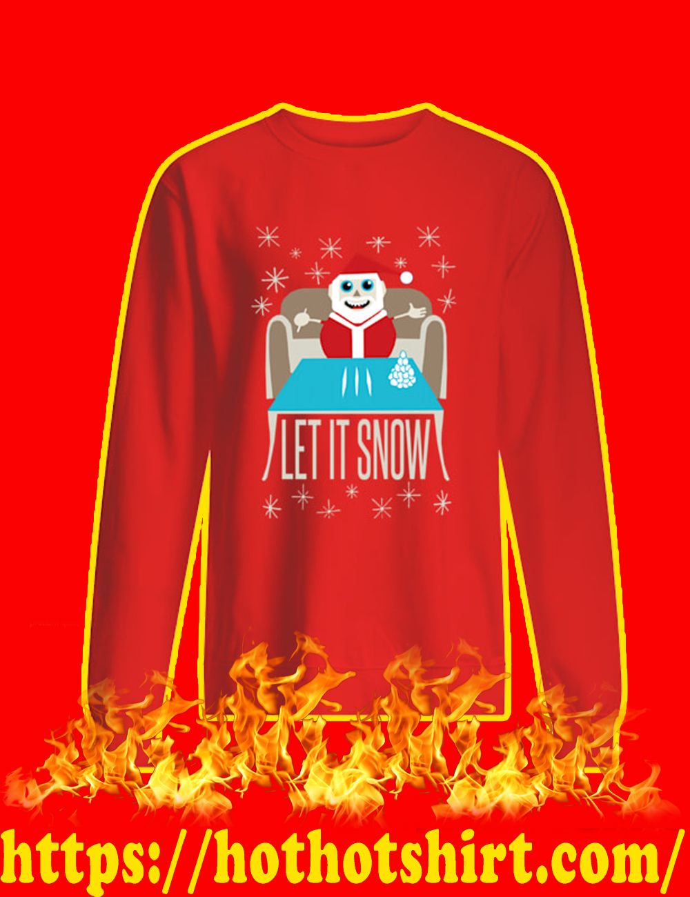 Let It Snow Santa Doing Cocaine Sweater-red