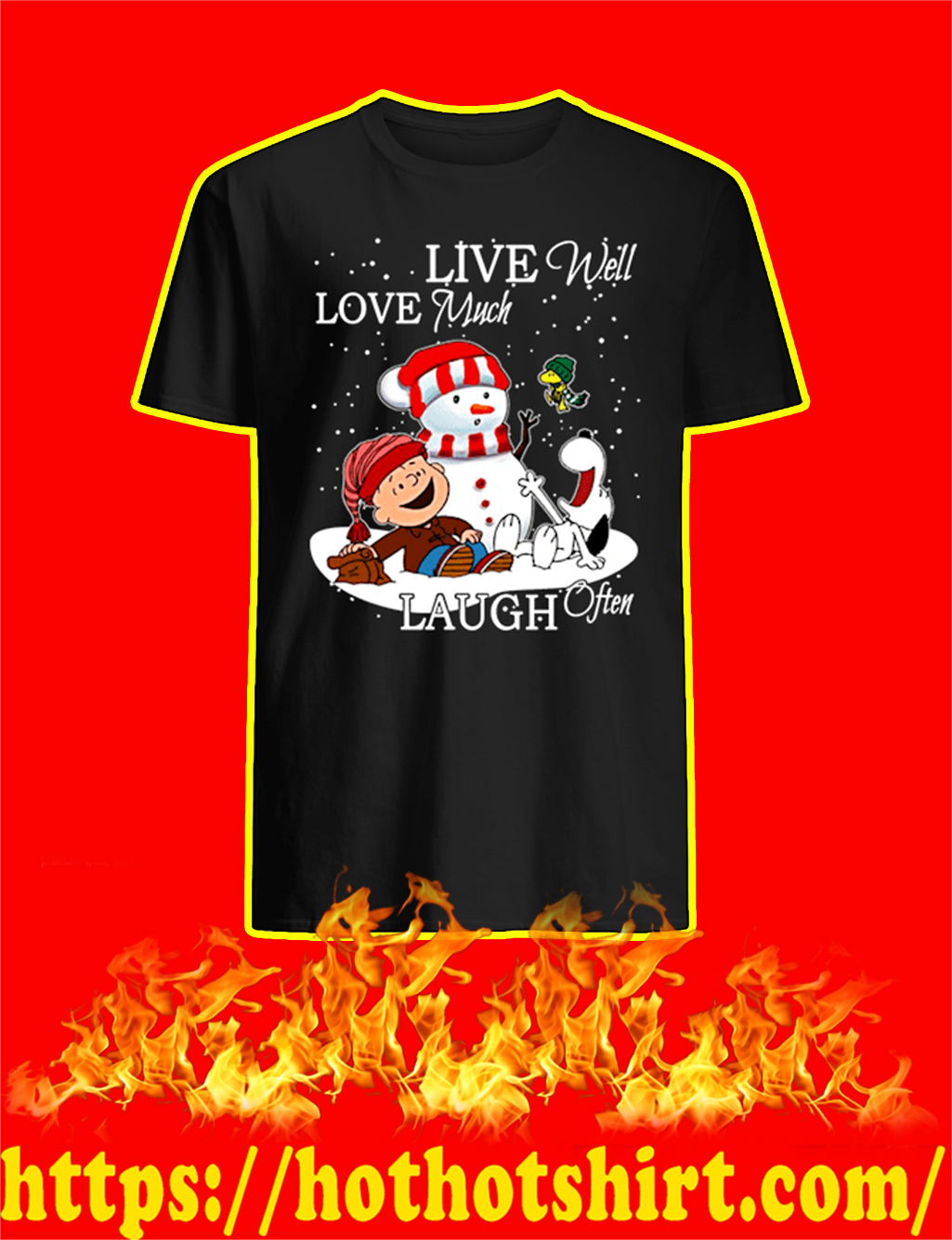 Live Well Love Much Laugh Often Peanuts Christmas shirt