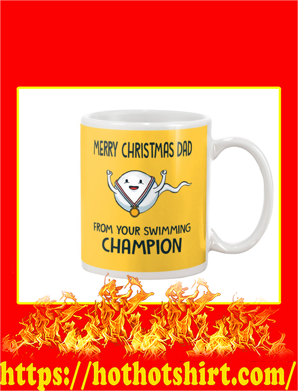 Merry Christmas Dad From Your Swimming Champion Mug- gold