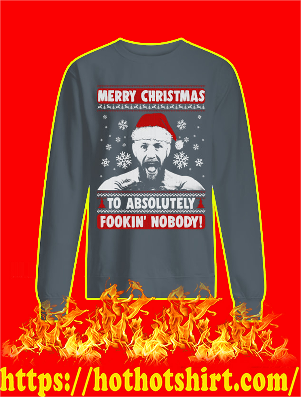 Merry Christmas To Absolutely Fookin' Nobody Christmas Sweater- grey