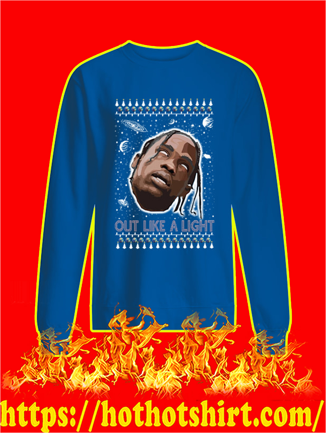 Out Like A Light Christmas Sweater- blue