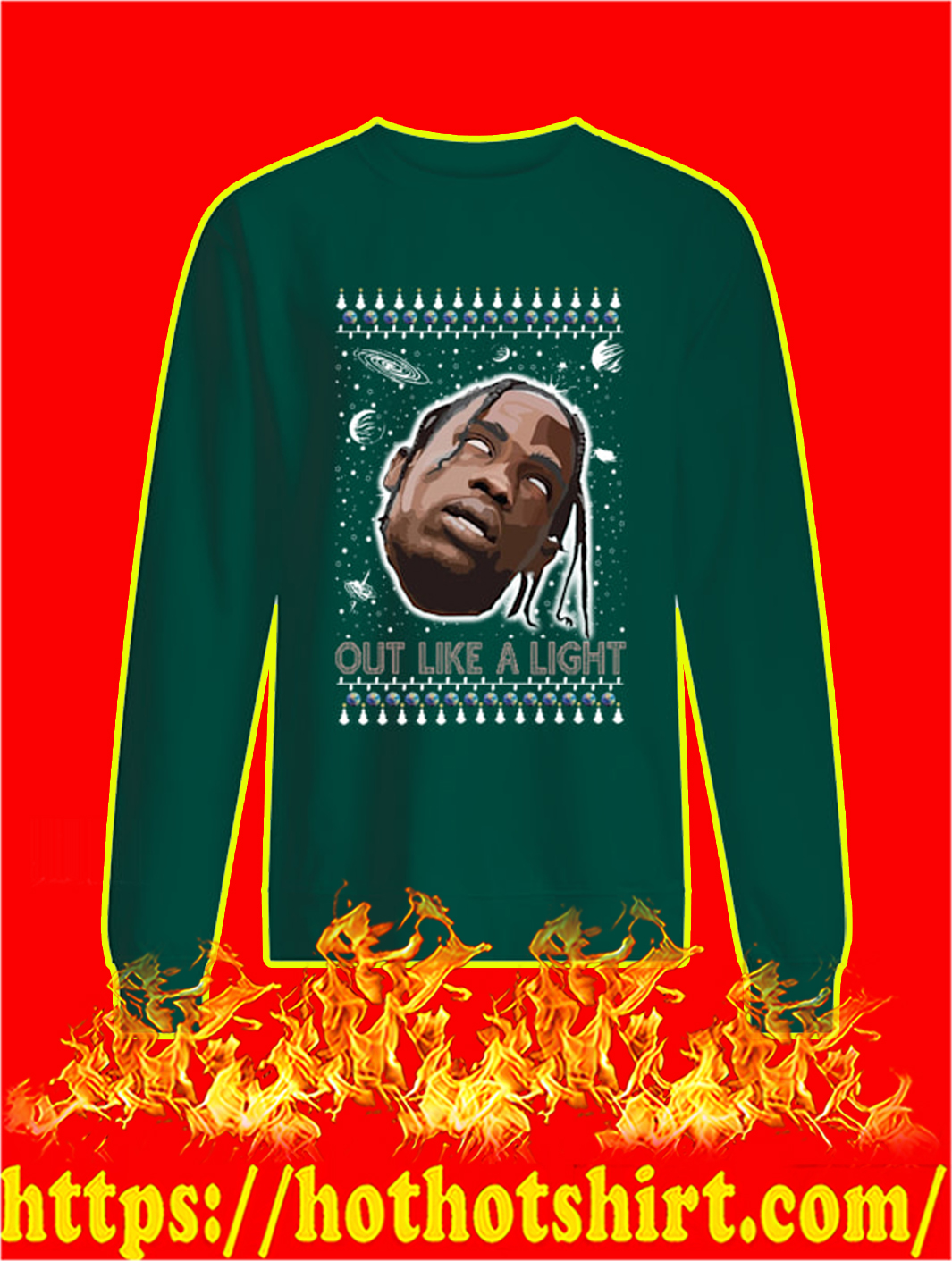 Out Like A Light Christmas Sweater- green