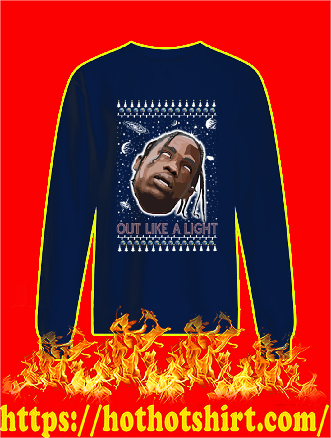 Out Like A Light Christmas Sweater- navy