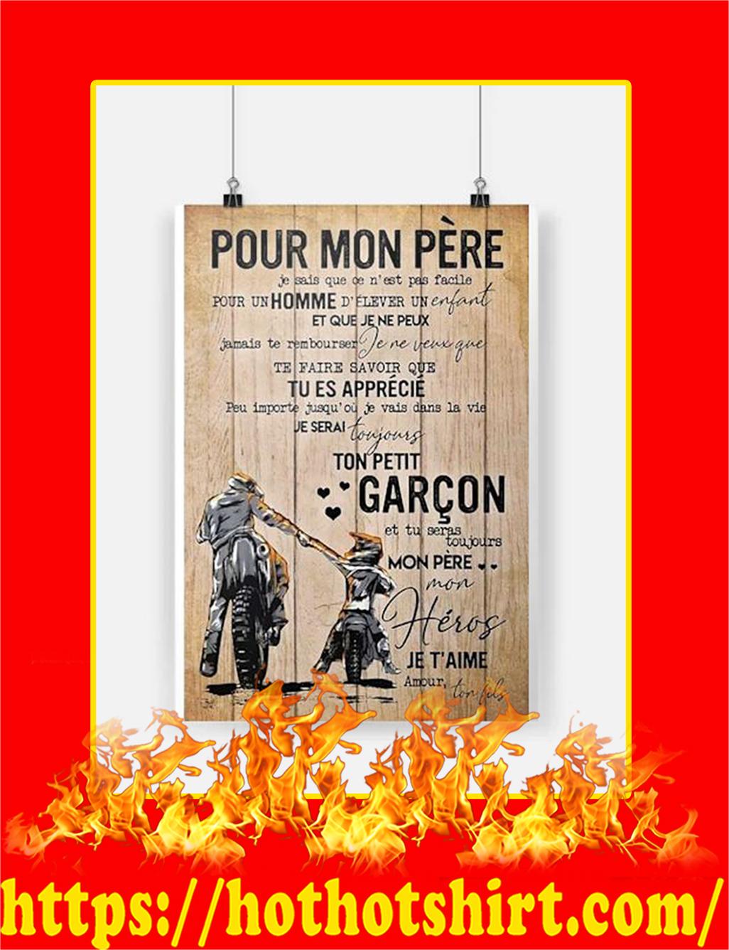 Pour Mon Pere Motarde Affiche Poster - A3