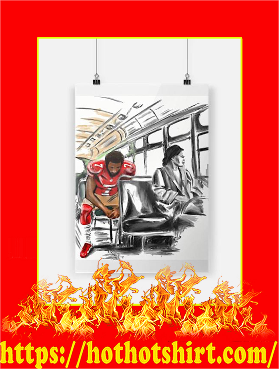 Rosa Parks And Colin Kaepernick On The Bus Poster - A2
