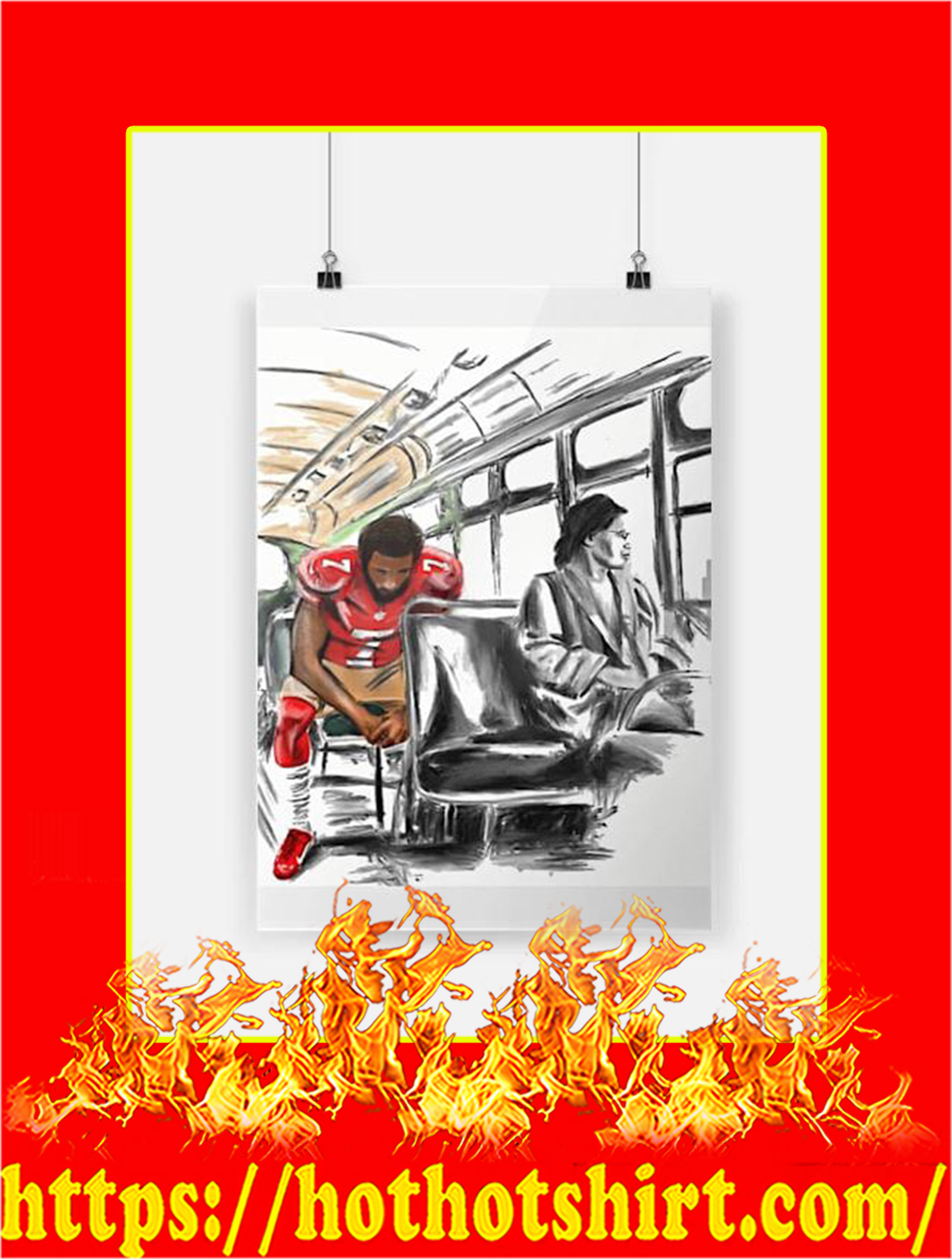 Rosa Parks And Colin Kaepernick On The Bus Poster - A3