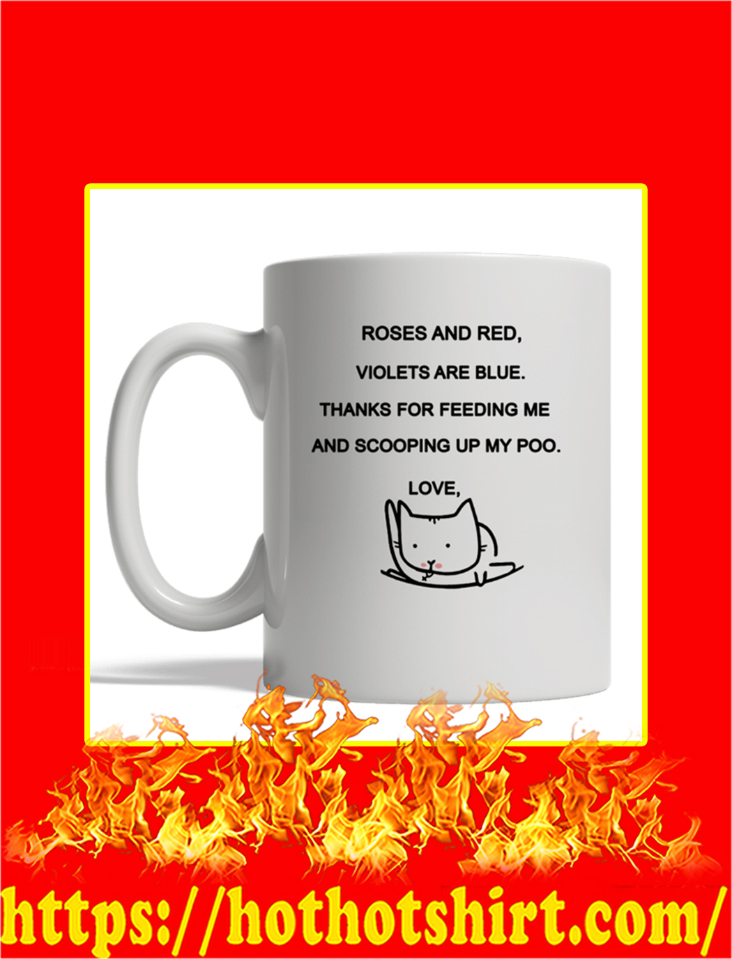Roses And Red Cat Custom Personalized Name Mug