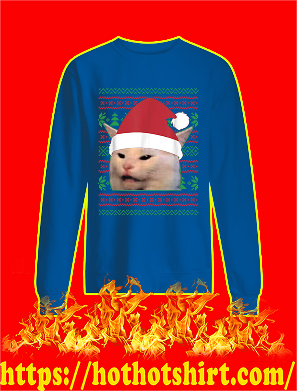 Santa Cat Meme Ugly Christmas Sweater- blue