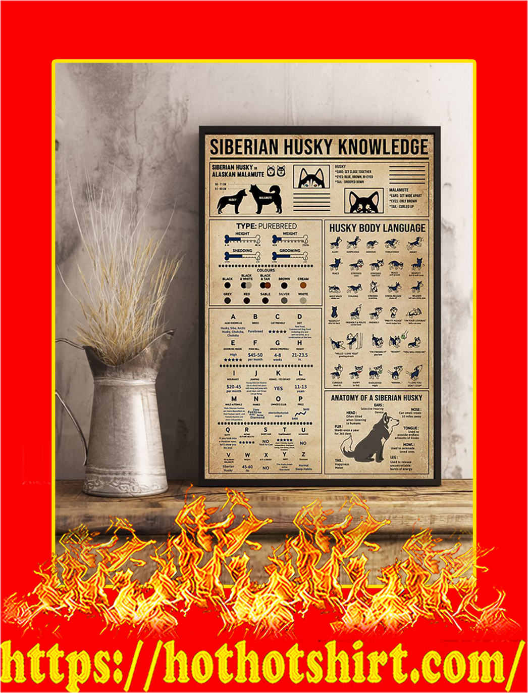Siberian Husky Knowledge Poster- 11x17