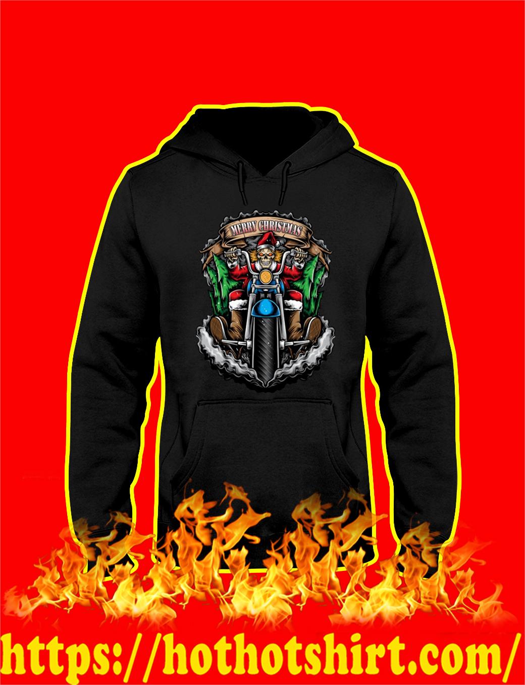 Skeleton Santa Biker Merry Christmas hoodie