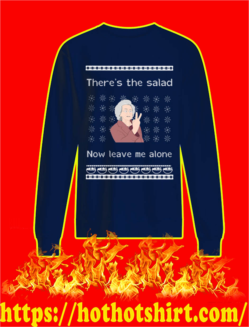 There's The Salad Now Leave Me Alone Christmas Sweater-navy