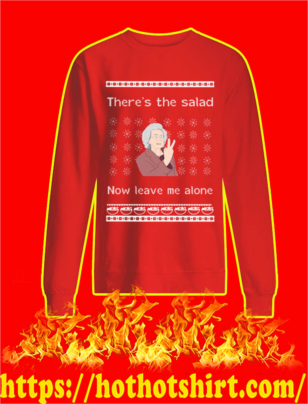 There's The Salad Now Leave Me Alone Christmas Sweater-red