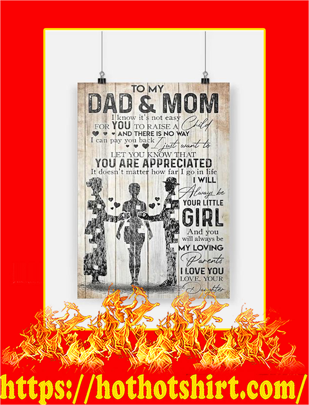 To My Dad And Mom Daughter Poster - A2