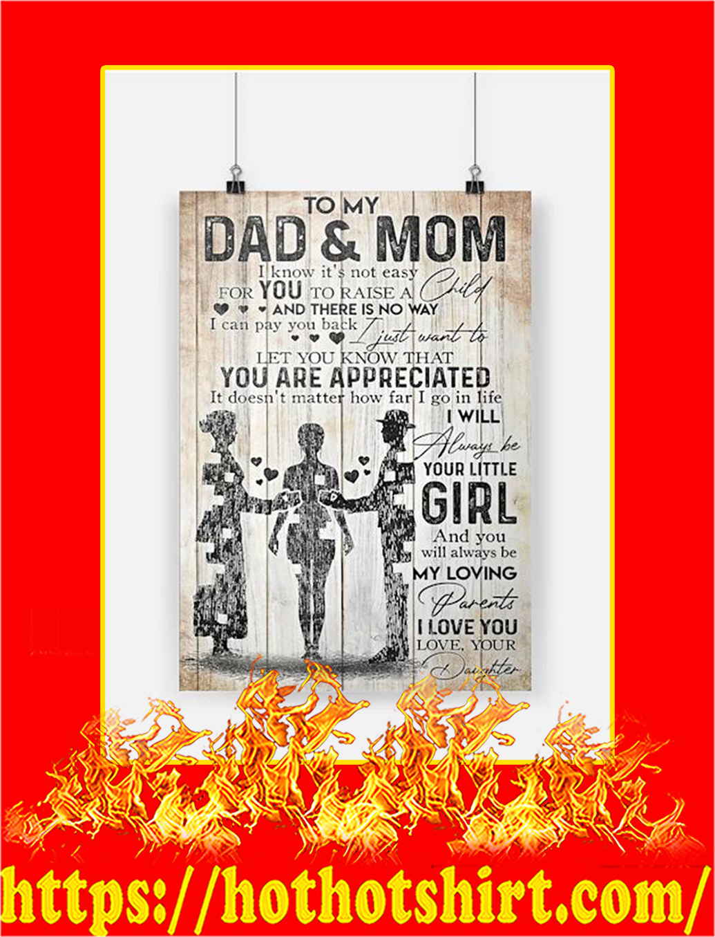 To My Dad And Mom Daughter Poster - A3